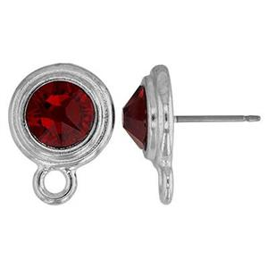 P64JAN: 11.9x15.8mm January Birthstone Post Earring with 7mm Siam Swarovski Crystal, 2.3mm Closed Ring ID, .