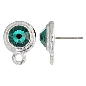 P64MAY: 11.9x15.8mm May Birthstone Post Earring with 7mm Emerald Swarovski Crystal, 2.3mm Closed Ring ID, .7