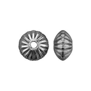 S0136: Sterling Silver Corrugated Saucer Bead