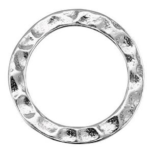 S125: Sterling Silver 15mm Hammered Ring Link