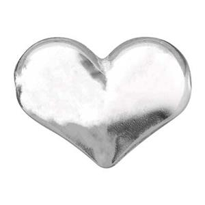 S132: Sterling Silver Puff Heart Bead
