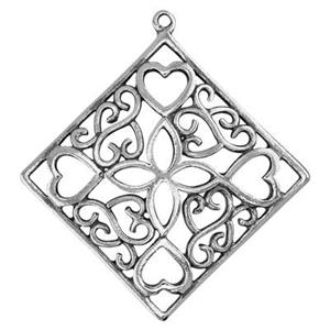 S1432: Sterling Silver Heart Filigree Diamond Shape Pendant