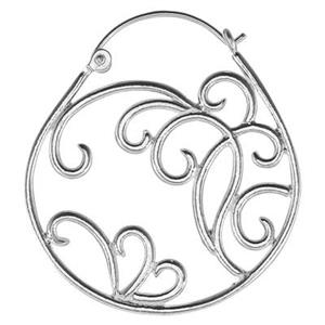 S1933: Sterling Silver Scrollwork Hoop Earrings