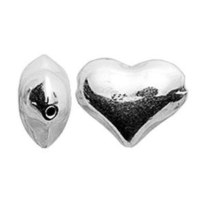 S193: Sterling Silver Puff Heart Bead