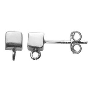 S21334: Sterling Silver 4mm Cube Post Earring