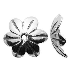 S218: Sterling Silver 9.6mm Flower Bead Cap