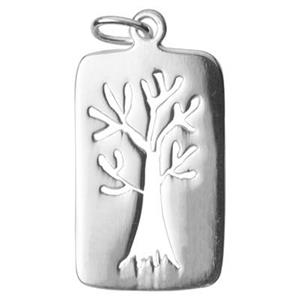 S2823: Sterling Silver Tree Rectangle Pendant