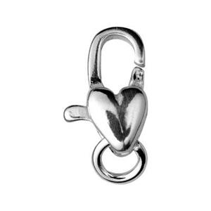 S32517: Sterling Silver Vertical Heart Lobster Clasp
