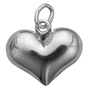 S4209: Sterling Silver 12mm Puff Heart Charm