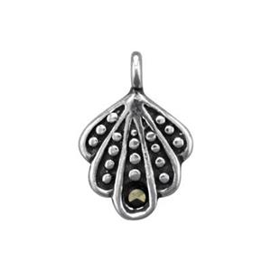 S4844MC: Marcasite Set Ox Shell Charm