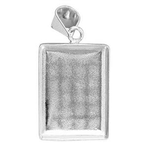 S52138: 13x21.2mm Rectangle Bezel Pendant, 4.1x6.9mm Bail ID, 1.5mm Cup Depth