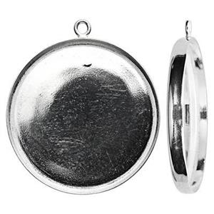 S5225: Sterling Silver 25mm Round Bezel Pendant Setting