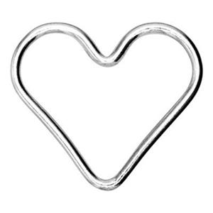 S540: Sterling Silver 15mm Wire Heart Link