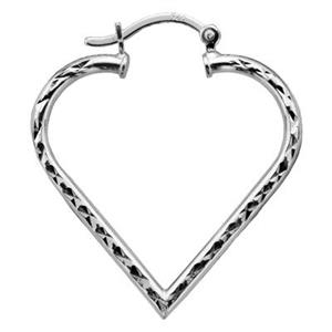 S5930DC: Sterling Silver 30mm Diamond Cut Hinged Heart Hoop Earrings