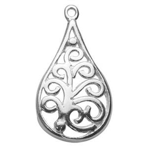 S6041: Sterling Silver Filigree Teardrop Charm