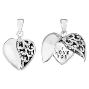 S6065: Split Heart Love Hideaway Pendant