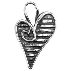 S6207: Sterling Silver Crazy Heart Charm