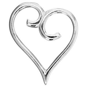 S6220: 21.4x23.8mm Scroll Heart Pendant, 4.5mm Hole ID (left) 3.9mm Hole ID (right)