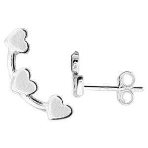 S6248: 13.8x5.7mm Tri Heart Earring Climbers, Clutches Included