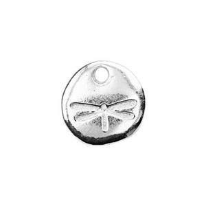 S6588: 6.5mm Tiny Dragonfly Circle Tag, 1mm Hole ID