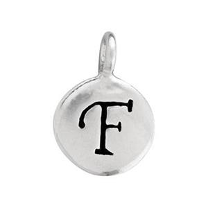 S65EF: Enameled Letter F Circle Charm