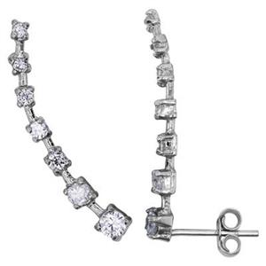 S6831CZ: 2.4x27.2mm Rhodium Plated CZ Ear Climber Post. Order 2pcs to get one pair of earrings.
