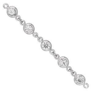 S6870CZ: 2in, 5.1mm Rhodium Plated CZ Bezel Link Chain Segment, 3.2mm CZ Width, 2.5mm Height, 1/4in between CZ