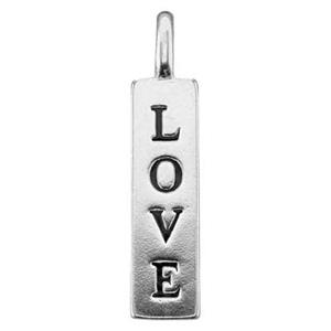 S7028: Sterling Silver Enameled Love Tag Charm