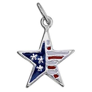 S708E: 11.5x14mm Enameled USA Patriotic Star Charm, 5mm Closed Oval Jump Ring, One Sided