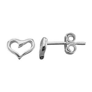 S7109: Sterling Silver Tiny Open Heart Stud Earring