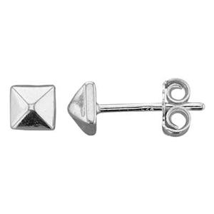 S7180: Sterling Silver Pyramid Stud Earring