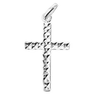 S7242: 15.3x22mm Diamond Cut Cross Pendant, 7mm Open Oval Jump Ring