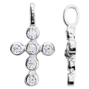 S7258CZ: 9.4x17.5mm Small CZ Cross Pendant, 3.2mm Closed Ring ID