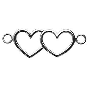 S7267: Sterling Silver Double Heart Large Link