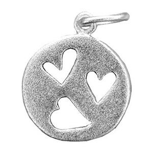 S7284: Sterling Silver Matte Cutout Heart Circle Charm