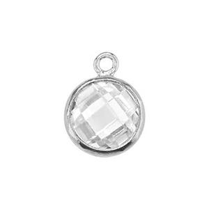 S96CZ: Double Sided Checkerboard Charm with CZ