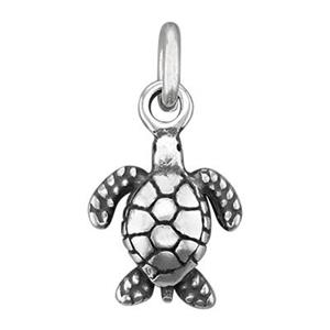 SC456: Sterling Silver 3D Sea Turtle Charm