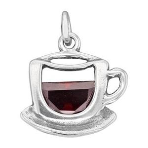 SC629CZ: Sterling Silver CZ Set Coffee or Tea Cup Charm