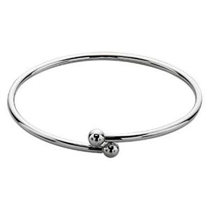 SCC1970: Sterling Silver Twist Open Wire Bangle with 6mm Threaded Bead Ends