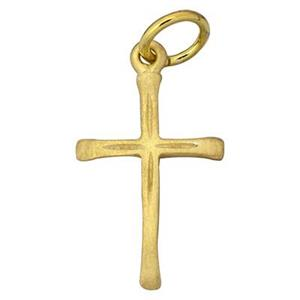 SG60020: Gold-Plated Sterling Silver Slender Cross Charm