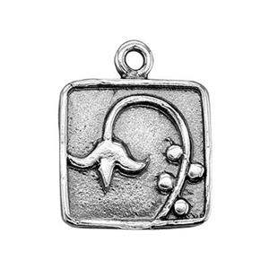 SH2815: Sterling Silver Lily of the Valley Square Charm