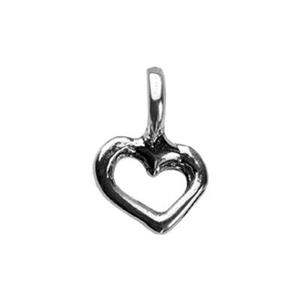 SH305: Tiny Sterling Silver Heart Outline Charm