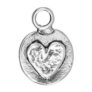 SH39: 9.4x13.5mm Heart Circle Charm Tag, 2.4mm Closed Ring ID