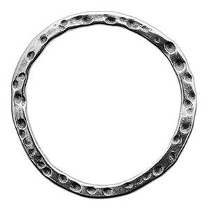 SH456: Sterling Silver 23mm Freeform Textured Circle Link