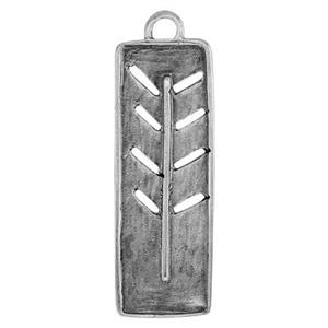 SH55: Sterling Silver Long Rectangle Tree Pendant