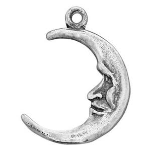 SH642: Sterling Silver Crescent Man in the Moon Charm