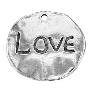 SH650: Sterling Silver Love Word Round Pebble Charm