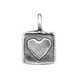 SH90: Sterling Silver Heart Square Tag Charm