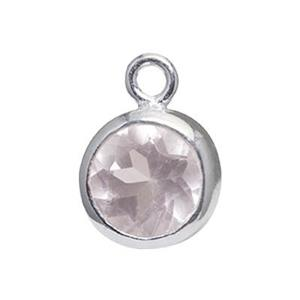 SK62: Sterling Silver 6mm Rose Quartz Bezel Set Charm