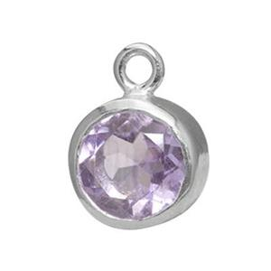 SK66: Sterling Silver 6mm Amethyst Bezel Set Charm